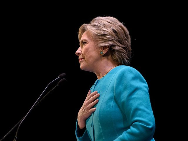 Democratic presidential nominee Hillary Clinton pauses while speaking during a fundraiser at the Paramount Theater on October 14, 2016 in Seattle, Washington. / AFP / Brendan Smialowski (Photo credit should read BRENDAN SMIALOWSKI/AFP/Getty Images)