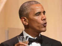 WASHINGTON, DC - OCTOBER 18: U.S. President Barack Obama offers a toast to Italian Prime Minister Matteo Renzi at a state dinner on the South Lawn of the White House October 18, 2016 in Washington DC. The president and first lady Michelle Obama will tonight host their final state dinner, …