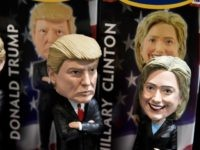 Bobblehead dolls of Donald Trump and Hillary Clinton are at Philadelphia International Airport, October 20, 2016 in Philadelphia, Pennsylvania.