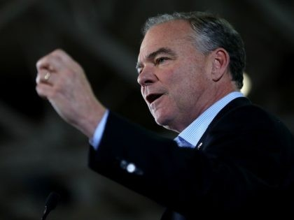 Democratic vice presidential nominee U.S. Sen Tim Kaine (D-VA) speaks during a campaign rally with democratic preisdential nominee former Secretary of State Hillary Clinton at Taylor Allderdice High School on October 22, 2016 in Pittsburgh, Pennsylvania. With just over two weeks to go before election day, Hillary Clinton is campaigning …