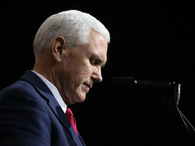 Vice Presidential candidate Mike Pence speaks before Donald Trump at a rally on October 22, 2016 in Cleveland.