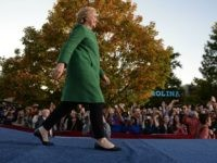 Democratic presidential nominee Hillary Clinton arrives on stage for a rally at the University of North Carolina at Charlotte, October 23, 2016, in Charlotte, NC.