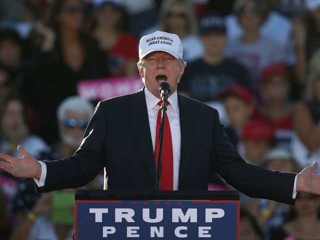 Republican presidential candidate Donald Trump speaks during a campaign rally at the Collier County Fairgrounds on October 23, 2016 in Naples, Florida.