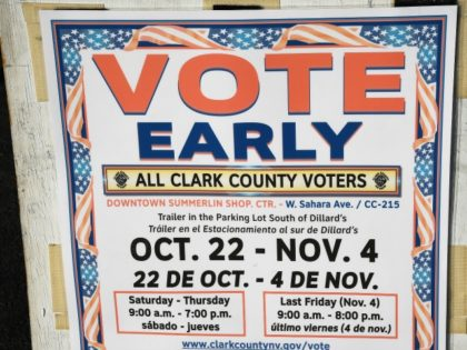A sign is posted outside an early voting site at Downtown Summerlin on October 26, 2016 in Las Vegas, Nevada.