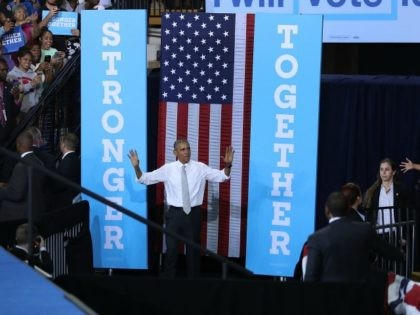 President Barack Obama during a campaign rally for Democratic presidential candidate Hillary Clinton at the University of Central Florida on October 28, 2016 in Orlando, Florida.