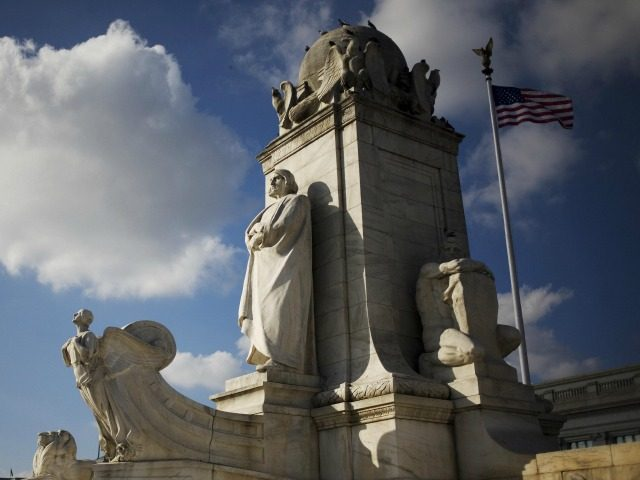 A 06 October 2007 photo shows the statue of Christopher Columbus at Columbus Circle in front of Union Station in Washington, DC.