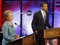 US Democratic presidential candidates Illinois Senator Barack Obama and New York Senator Hillary Clinton participate in their debate hosted by ABC in Philadelphia, Pennsylvania, April 16, 2008. AFP PHOTO/Emmanuel Dunand (Photo credit should read