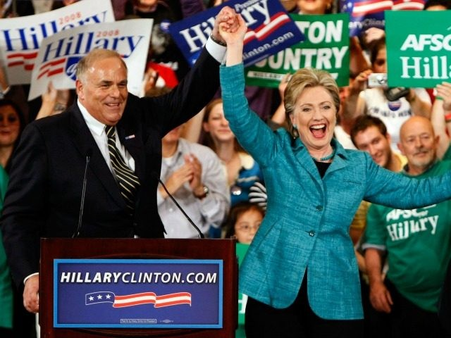Democratic presidential candidate Sen. Hillary Clinton (D-NY) celebrates with Pennsylvania Governor Ed Rendell (L) on stage during a primary night rally April 22, 2008 in Philadelphia, Pennsylvania. Early results indicated Sen. Clinton would win the Pennsylvania primary over rival Sen. Barack Obama. (Photo by