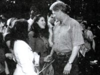 A photograph showing former White House intern Monica Lewinsky meeting President Bill Clinton at a White House function submitted as evidence in documents by the Starr investigation and released by the House  September 21, 1998.