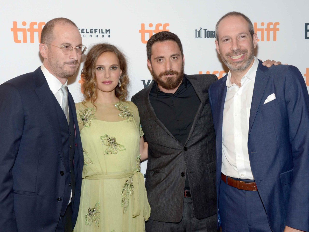 Natalie Portman (second from left) and Noah Oppenheim (far right)