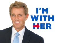 "Jeff Flake with ""I'm with Her"" background"