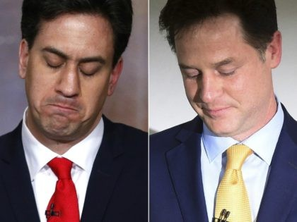 Labour Party leader Ed Miliband (L) and Liberal Democrat Party leader Nick Clegg