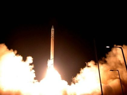 PALMACHIM, ISRAEL - JUNE 11: In this handout photo released by the Israeli Aerospace Industries, a Shavit rocket carrying the Ofek 7 satellite is launched early morning from the Israeli Air Force test range June 11, 2007 in Palmachim, Israel. According to reports, the new satellite will be able to …