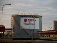 In this Feb. 18, 2015 photo, storage tanks stand in a PDVSA state-run oil company crude oil complex near El Tigre, a town located within Venezuela's Hugo Chavez oil belt, formally known as the Orinoco Belt. U.S. petroleum exports to Venezuela, much of it fuel additives to dilute the country's …