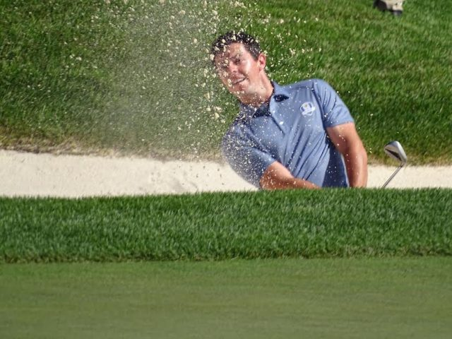 Rory in Sand Ryder Cup 2016