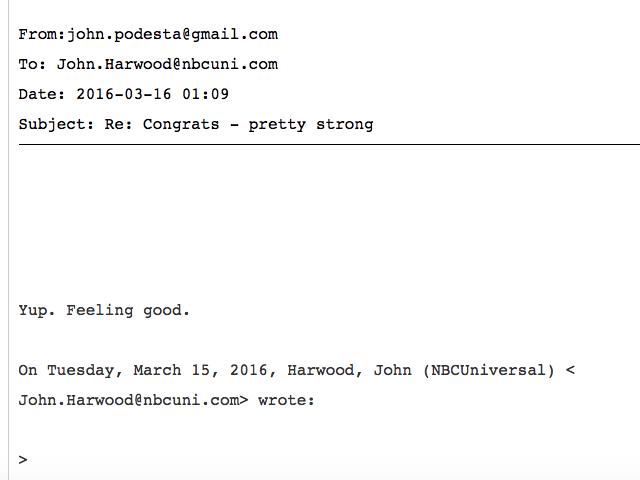 John Harwood to John Podesta (Wikileaks)