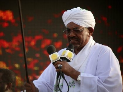 The incumbent president and candidate of the ruling National Congress Party (NCP) for Sudans presidency Omar al-Bashir gives a speech on March 31, 2015 in the capital Khartoum, during a campaign meeting ahead of the April 13 parliamentary and presidential elections. The National Electoral Commission has said some 14 candidates …