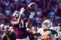 October 8, 2016: Texas A&M Aggies wide receiver Josh Reynolds (11) hauls in a long ball over Tennessee Volunteers defensive back Baylen Buchanan (28) during the Tennessee Volunteers  vs Texas A&M Aggies game at Kyle Field, College Station, Texas. (Photo by Ken Murray/Icon Sportswire via Getty Images)