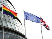 The LGBT, Union and European Union flags fly outside City Hall in central London
