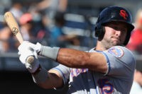 PEORIA, AZ - OCTOBER 13: Tim Tebow #15 (New York Mets) of the Scottsdale Scorpions warms up on deck during the Arizona Fall League game against the Peoria Javelinas at Peoria Stadium on October 13, 2016 in Peoria, Arizona. (Photo by Christian Petersen/Getty Images)