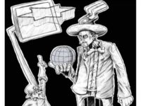 Uncle Sam Palestinian Cartoon Jews Israel controlling world (Credit: Palestinian Media Watch)