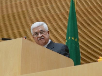 ADDIS ABABA, ETHIOPIA - JANUARY 27: In this handout image provided by the Palestinian Press Office, President Mahmoud Abbas speaks at a meeting of the African Union on January 27, 2013 in Addis Ababa, Ethiopia. (Photo by Thaer Ghanaim/PPO/Getty Images)