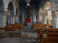 A church that was partially destoyed by Islamic State is pictured during the offensive to recapture the city of Mosul from Islamic State militants, on October 23, 2016 in Bartella, Iraq. Despite stiff opposition, Iraqi and Kurdish forces have continued advancing towards Iraq's second largest city of Mosul and are now within 5 miles of the city where ISIS fighters have spent months building elaborate defences in anticipation of the offensive. (Photo by Carl Court/Getty Images)
