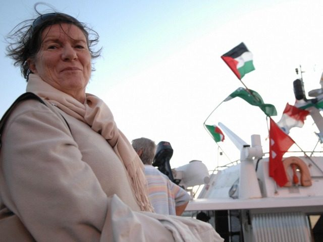 Former member of the British parliament Baroness Jeniffer Tonge stands in front of the boat 'Dignity' as he gets ready along with other peace activists and European politicians to sail out from the southern Cypriot port of Larnaca to the Gaza Strip on November 7, 2008. Eleven European politicians, most …