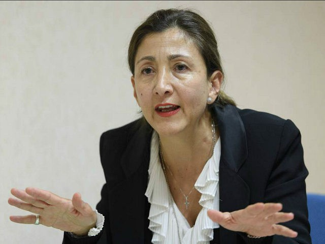"""Ingrid Betancourt, former presidential candidate for Columbia, speaks about the formation of the committee """"Justice for Victims of 1988 Massacre in Iran"""" during a press conference, in Geneva, Switzerland, Wednesday, Sept. 21, 2016. (Martial Trezzini/Keystone via AP)"""