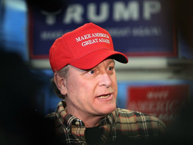 SALEM, NH - OCTOBER 18: Former Boston Red Sox pitcher Curt Schilling speaks to the gathered media as he makes an appearance at a Republican Party office in Salem, NH to stump for the presidential candidacy of Donald Trump on Oct. 18, 2016. (Photo by Jim Davis/The Boston Globe via …