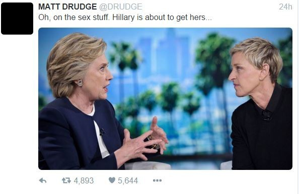drudge hillary abt to get hers tweet