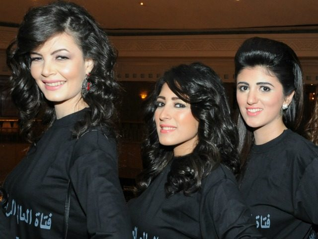 From L to R) Somalia's Ladana, Eva from Iraq, Egypt's Mera and Tunisian Nadya, pose for a photograph during the 6th Miss Arab World contest on December 17, 2023 in Giza. Twenty-two contests from 22 countries are taking place in the competition. AFP PHOTO/AMRO MARAGHI (Photo credit should read AMRO …