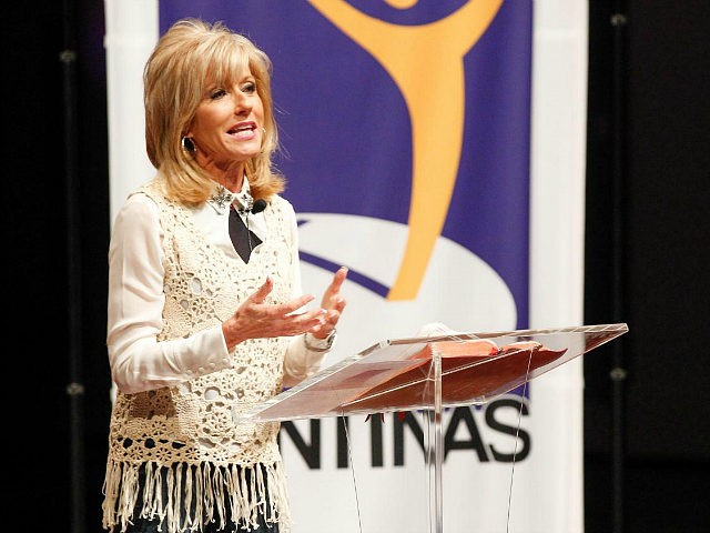 NASHVILLE, TN - OCTOBER 06: NASHVILLE, TN - OCTOBER06:Evangelist and author Beth Moore speaks at the Dove Nominee Luncheon at the Schermerhorn Symphony Center on October 6, 2014 in Nashville, Tennessee. (Photo by Terry Wyatt/Getty Images for Dove Awards)
