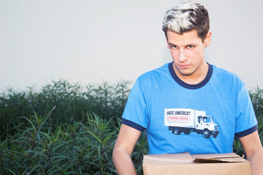 Breitbart's Milo dons the Breitbart Moving Co. Tee (Photo: Mike Ma )