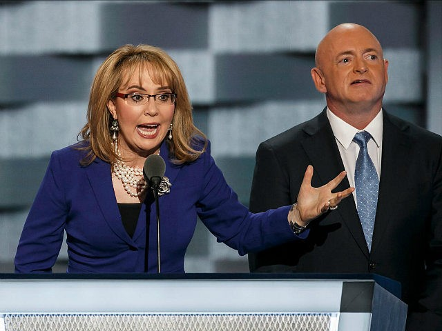 PHILADELPHIA, PA. -- WEDNESDAY, JULY 27, 2016: Gabby Giffords & Mark Kelly speak at the 2016 Democratic National Convention, in Philadelphia, Pa., on July 27, 2016. (Photo by Marcus Yam/Los Angeles Times via Getty Images)