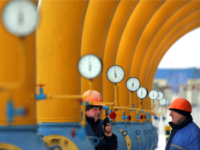 Belarus employees work at the Yamal-Europe gas transfer station near town of Nesvizh, some 130 kms west of Minsk, on January 9, 2009. Deliveries of Russian gas via Ukraine have been halted, but Poland is continuing to receive the bulk of its supplies via a pipeline running through Belarus. Germany …