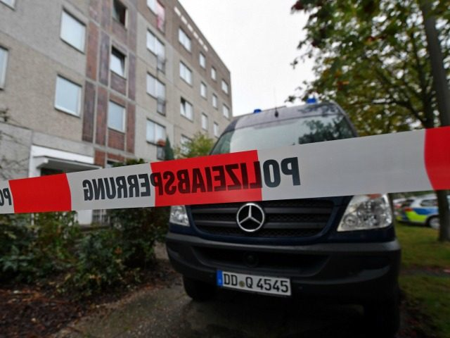 A barrier tape and a police vehicle of the criminal technology block the access to an house in the district of Paunsdorf in Leipzig, eastern Germany on October 10, 2016. German police said on October 10, 2016 that they have arrested a Syrian man suspected of plotting a jihadist bomb …