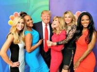 "NBCUNIVERSAL EVENTS -- NBCUniversal Press Tour, January 2015 -- ""The Celebrity Apprentice"" -- Pictured: (l-r) Kate Gosselin; Vivica A. Fox; Donald Trump, Executive Producer/Host; Leeza Gibbons; Brandi Glanville; Kenya Moore -- (Photo by: Paul Drinkwater/NBC/NBCU Photo Bank)"