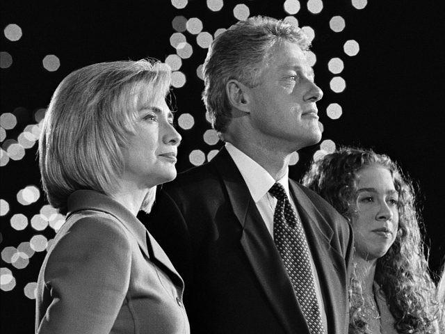 LITTLE ROCK, UNITED STATES - NOV 5: Hillary Rodham Clinton, President Bill Clinton and daughter Chelsea on stage at the Old State House in Little Rock on election night. November 5, 1996. (Photo by David Hume Kennerly/Getty Images)