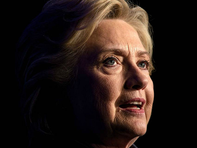 Democratic presidential nominee Hillary Clinton speaks during a fundraiser at the Capitol Hill Hyatt hotel on October 5, 2016 in Washington, DC. / AFP / Brendan Smialowski (Photo credit should read BRENDAN SMIALOWSKI/AFP/Getty Images)
