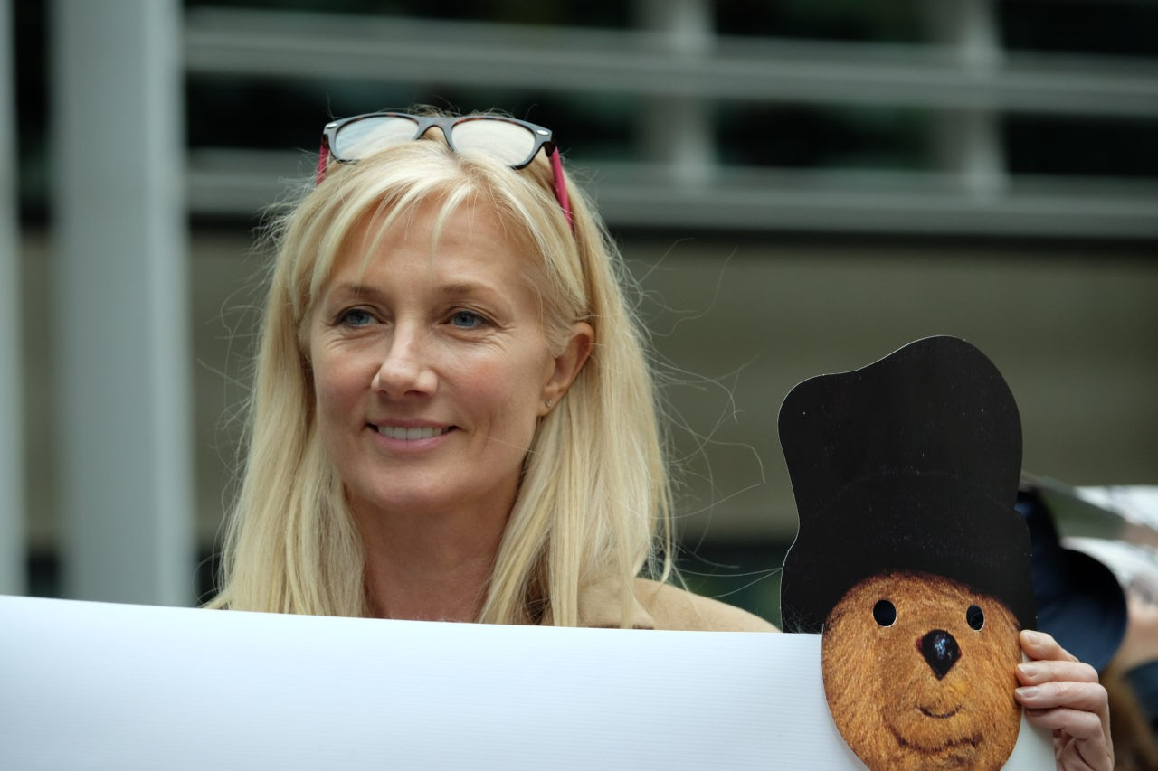 Actress Joely Richardson joined protesters outside the Home Office (Rachel Megawhat/Breitbart London)