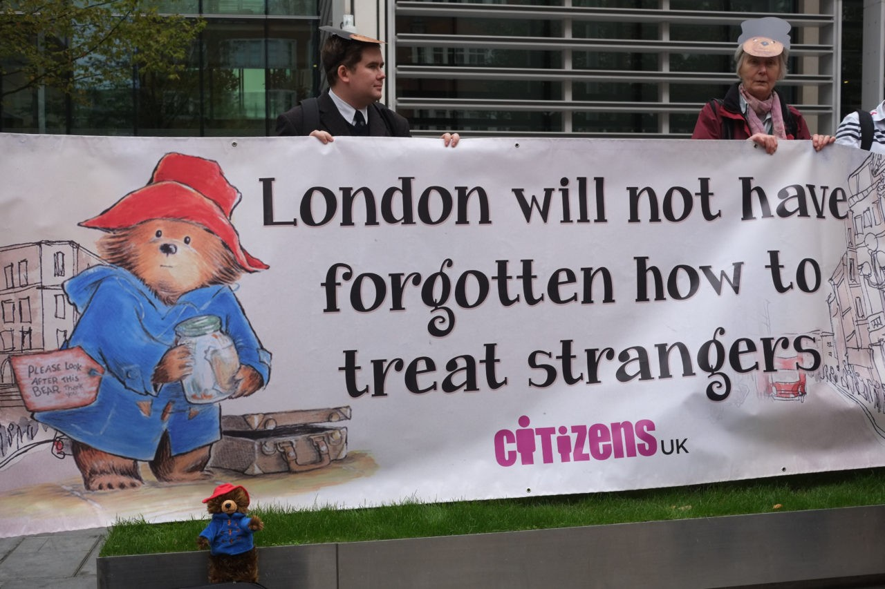 Protesters quote Paddington Bear (Rachel Megawhat/Breitbart London)