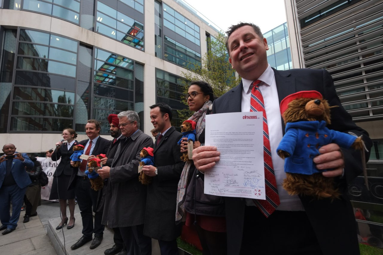London council leaders are  presented with bears (Rachel Megawhat/Breitbart London)