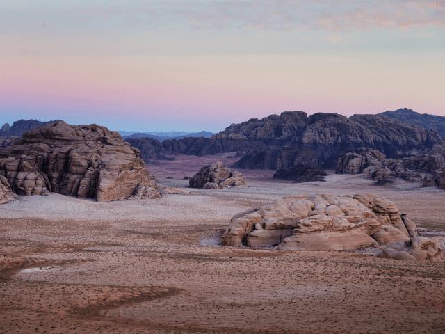 WADI RUM, JORDAN - MARCH 28: A general view over the desert of Wadi Rum at sunrise on March 28, 2013 in Wadi Rum, Jordan. (Photo by Adam Pretty/Getty Images)