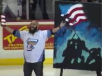 Watch: Man Paints 'Raising the Flag on Iwo Jima' While Singing National Anthem at Hockey Game