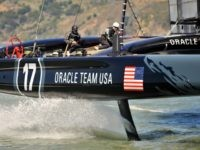 The Oracle team sails their AC-72 yacht in San Francisco Bay on April 17, 2013 in California. The team is training for the 2013 America's Cup to be held September 7 to 22 in San Francisco. AFP PHOTO/Josh Edelson (Photo credit should read Josh Edelson/AFP/Getty Images)