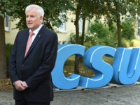 Governor of the Bavarian State, Horst Seehofer speaks during an television interview after the conference of the board of the German Christian Social Union party CSU at the castle Schloss Schwarzenfeld near Regensburg, southern Germany, on September 10, 2016. / AFP / CHRISTOF STACHE (Photo credit should read CHRISTOF STACHE/AFP/Getty …