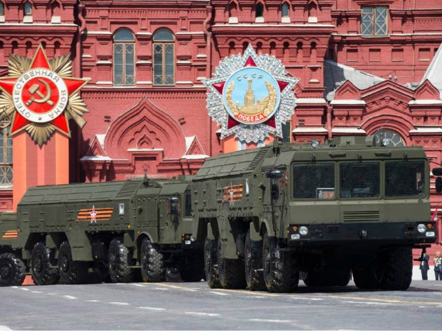 FILE - In this file photo taken on Saturday, May 9, 2015, Iskander missile launchers are driven during the Victory Parade marking the 70th anniversary of the defeat of the Nazis in World War II, in Red Square in Moscow. The Russian military said Thursday Oct. 20, 2016 it conducted drills involving Iskander missiles near the nation's western border, amid tensions in relations with the West. (AP Photo/Alexander Zemlianichenko, file)