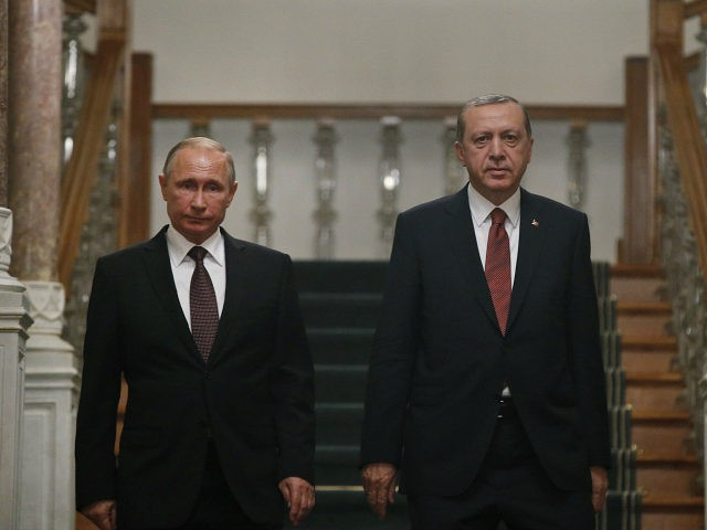 Turkey's President Recep Tayyip Erdogan, right, and Russian President Vladimir Putin arrive for their joint news conference following their meeting in Istanbul, Monday, Oct. 10, 2016. Putin and Erdogan voiced support for the construction of a gas pipeline from Russia to Turkey, called Turkish Stream, a project that was suspended …