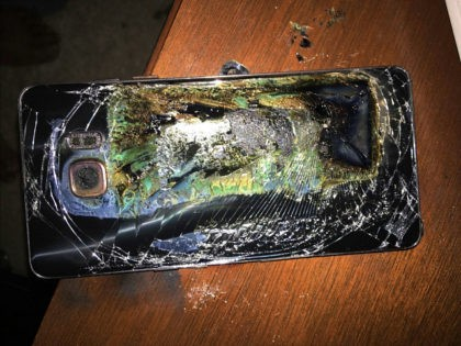 This Sunday, Oct. 9, 2016, photo shows a damaged Samsung Galaxy Note 7 on a table in Richmond, Va., after it caught fire earlier in the day. Samsung Electronics said Tuesday, Oct. 11, that it is discontinuing production of Galaxy Note 7 smartphones permanently, a day after stopping global sales …
